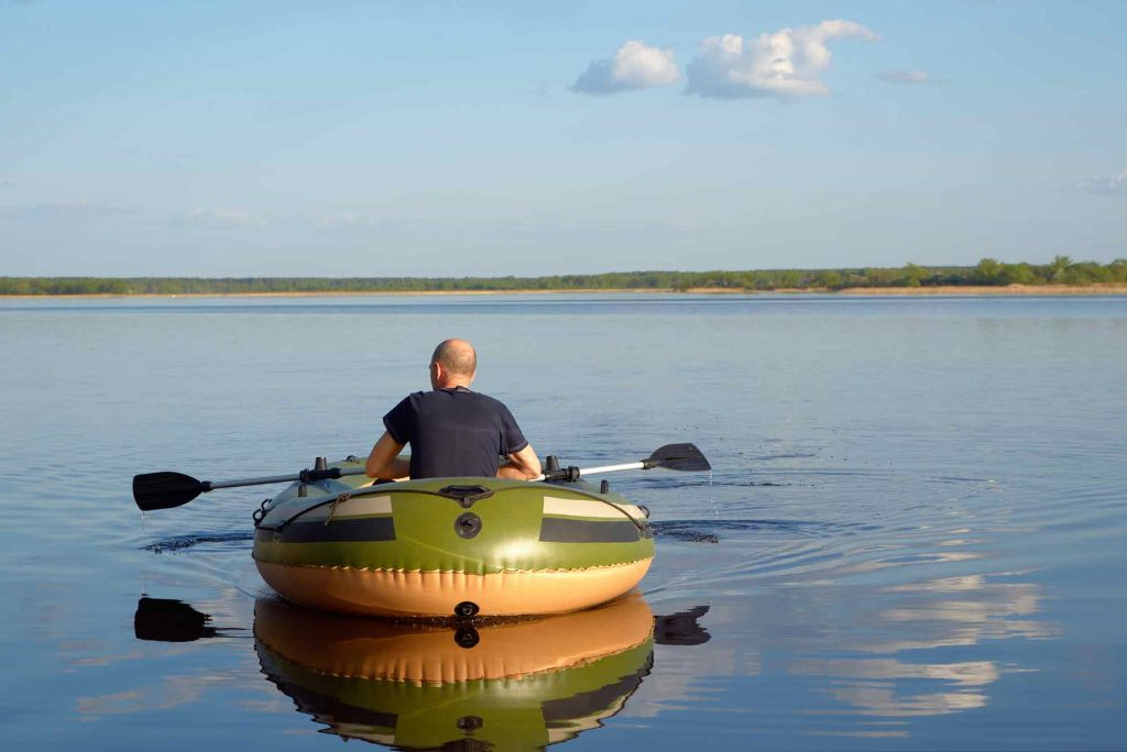 inflatable boating on a lake