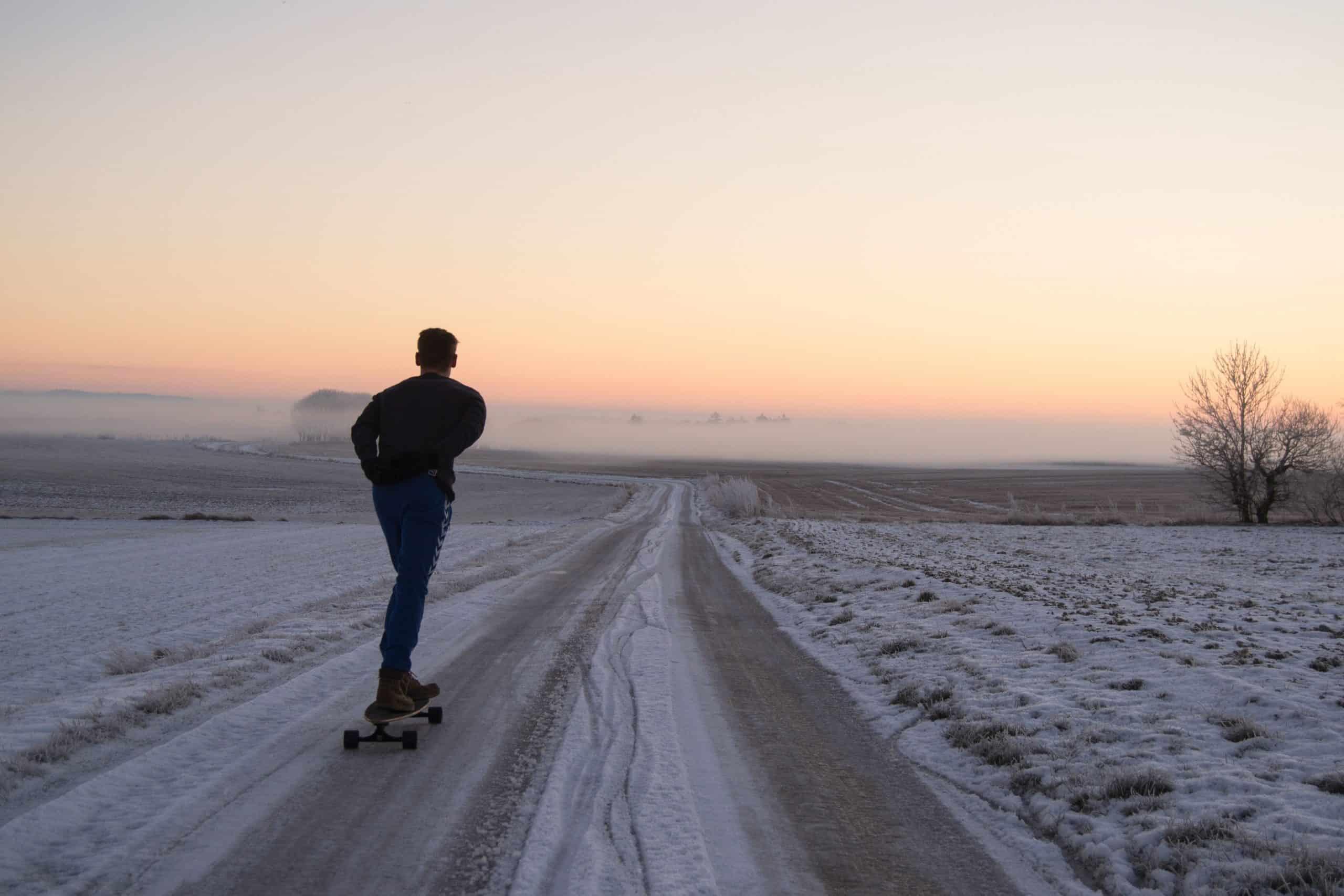 skateboarding in winter